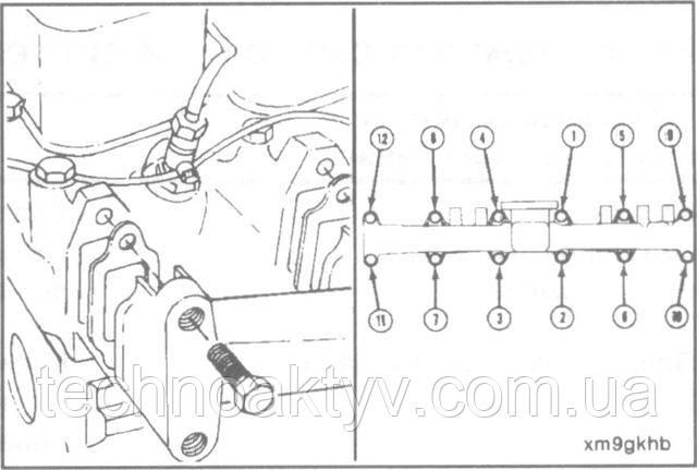 Ключ 15 мм  Установите выпускной коллектор и новые прокладки.  Крутящий момент затяжки:43 Н • м [32 ft-lb]  При затяжке болтов придерживайтесь последовательности, указанной на рисунке. Затем затяните болты еще раз в той же последовательности и с тем же крутящим моментом.