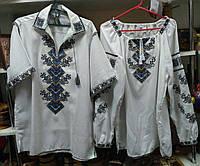 """Блузка женская + мужская лен  узор """"борщивка""""  блузка машинной вышивки от производителя модель ВГ18"""