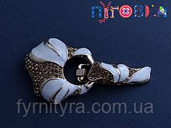 Кліпса шубна (шубний гачок) M, 030, gold and white