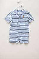 Голубой ромпер (песочник) в полоску для мальчика от Ralph Lauren