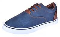 Кеды мужские слипоны на шнуровке Navi темно синие, Синий, 45