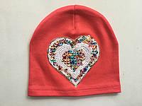 Детская шапочка для девочек демисезонная с пайетками
