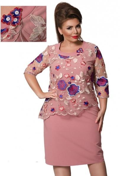 Платье с органзой и вышивкой 52,54,56,58,60,62