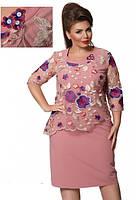 Платье с органзой и вышивкой 52,54,56,58,60,62, фото 1