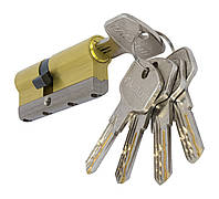 PALADII циліндровий механізм латунний з вставкою 70мм (30*40) 5 гібридних ключа жовтий