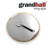 Камень для пиццы с ножом и стальным подносом Grandhall 33 см