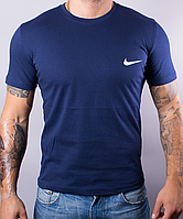 Футболка мужская хлопковая Nike темно-синяя, Синий, XL