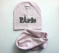 Детская шапка для девочек с хомутом цвет пудра