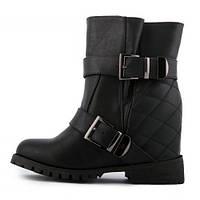 Ботинки женские черные на танкетке Veyde кожаная стелька, Черный, 40