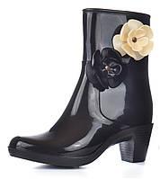 Ботильоны женские резиновые в стиле Coco Chanel черные на каблучке с цветами на молнии, Черный, 38