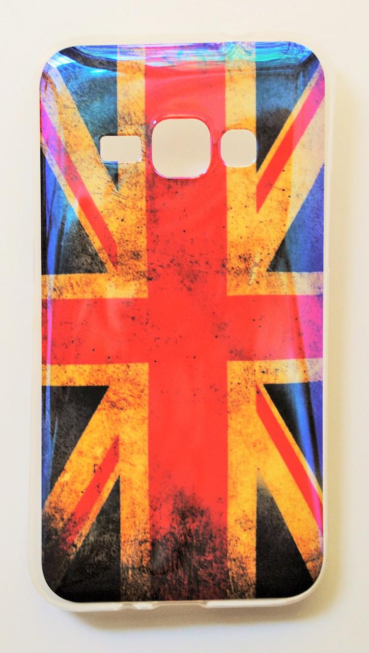 Чехол на Самсунг Galaxy J1 (2016) J120H Силикон перламутр Флаг Великобритании