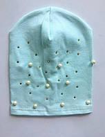 Детская шапочка для девочек демисезонная с бусинами