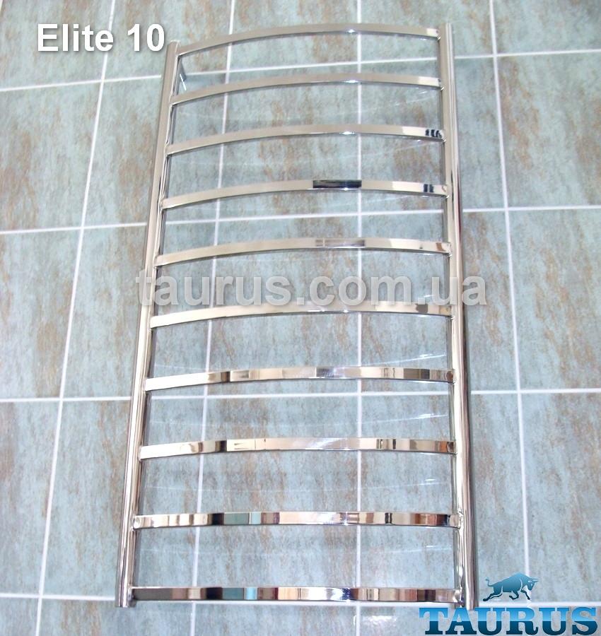 Узкий высокий полотенцесушитель Elite 10/ 1050х400 мм из нержавейки с дугообразной перемычкой 20х10. Полировка