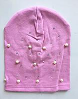 Детская шапочка для девочек осенняя с бусинами