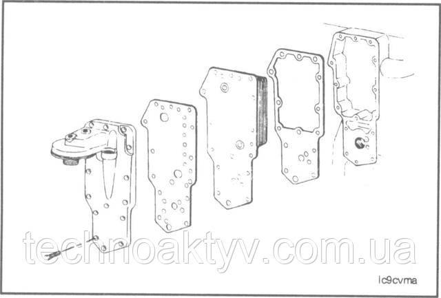 Ключ 10 мм  Снимите крышку охладителя, элемент и прокладки.