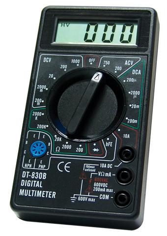 Мультиметр dt-830в, цифровой, универсальный, питание – 9в, проверка транзисторов