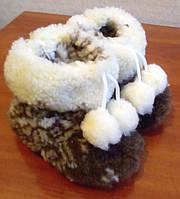 Комнатные сапожки из овчины меховые детские