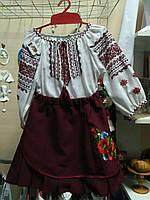 """Юбка детская поплиновая бордо узор """"маки"""" гладь  , юбка ручной вышивки от производителя модель ВГ19"""