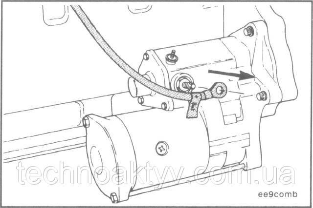 Ключ 14 мм  Отсоедините провод АКБ от втягивающего реле стартера.