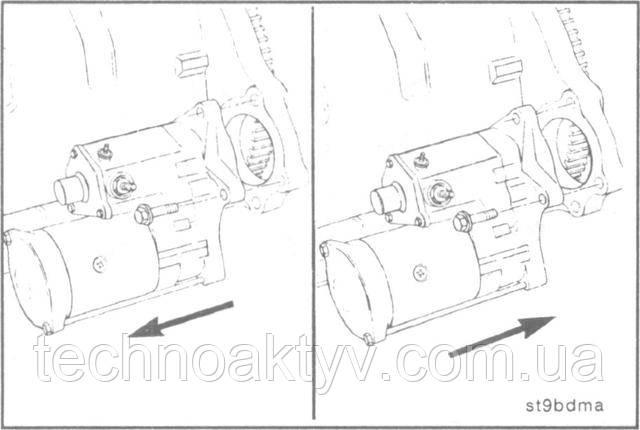Ключ 10 мм  Снимите стартер.  Установку стартера производите в порядке, обратном снятию.  Крутящий момент затяжки:43 Н • м [32 ft-lb]