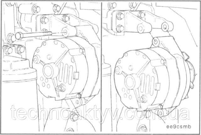 Ключ 16 мм  Снимите болты крепления генератора. Снимите генератор.