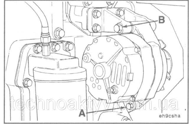 Ключи 14 мм, 16 мм  Затяните болты крепления генератора.  Крутящий момент затяжки:А = 24 Н • м [18 ft-lb] В = 43 Н • м [32 ft-lb]