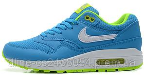 Женские кроссовки Nike Air max 87 Голубые с салатовым