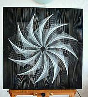 """Панно """"Ночная симфония"""" техника Стринг-арт с флуоресцентными нитями светящимися в темноте, фото 1"""