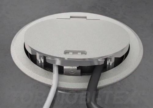 Лючок GES R2 с никелированной откидной крышкой, с фиксатором. 7408850. ОБО  Беттерманн.