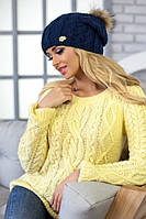 Женская вязаная шапка с натуральным бубоном Афина в разных цветах