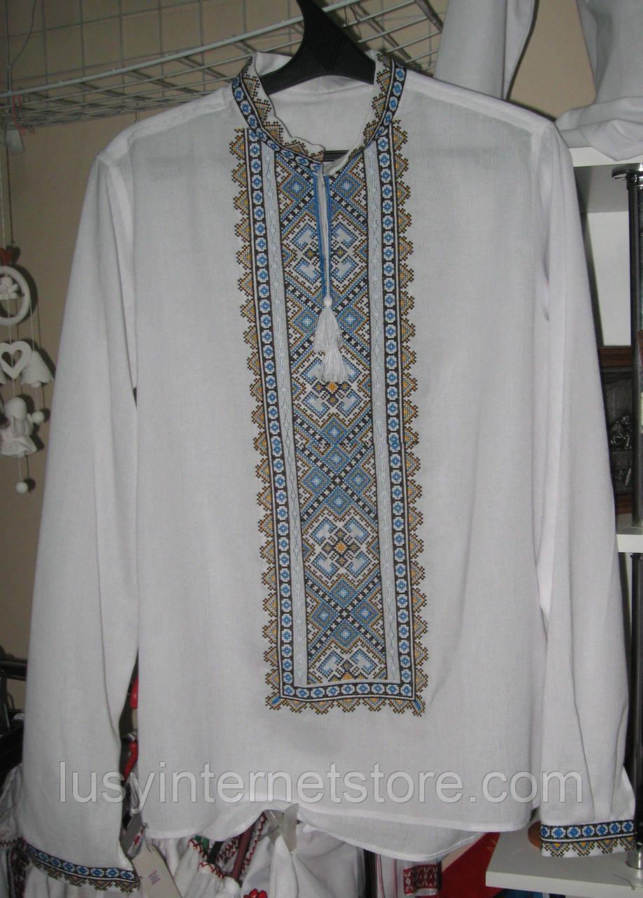 Сорочка мужская цвет белый лен узор голубой  6f75f82d03d4b