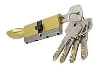 PALADII циліндровий механізм латунний з вставкою 70ммТ(30*40) з вертушком.5 гібридних ключа жовтий