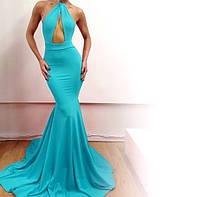 """Платье в пол """"рыбка"""" с открытой спиной, без рукавов, с открытым животом"""