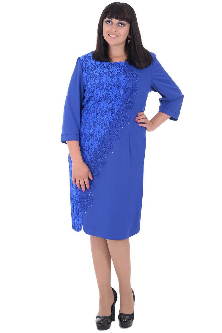 Платье женское 64 р ярко синего цвета