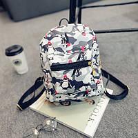 Женский мини рюкзак с пингвинами Серый