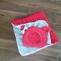 Плед в коляску или кроватку + ортопедическая подушка для новорожденных