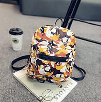 Женский мини рюкзак с пингвинами Оранжевый