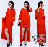 Платье женское батальное с разрезом 48-54 фуксия, бутылка и красный, фото 4