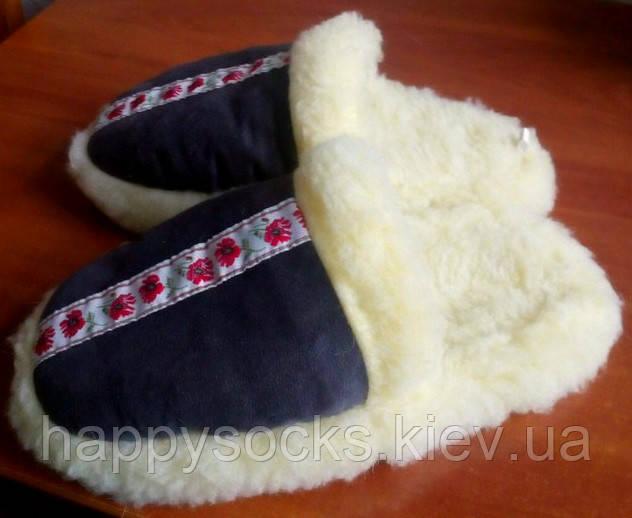 Тапочки-шлёпанцы женские меховые из овчины
