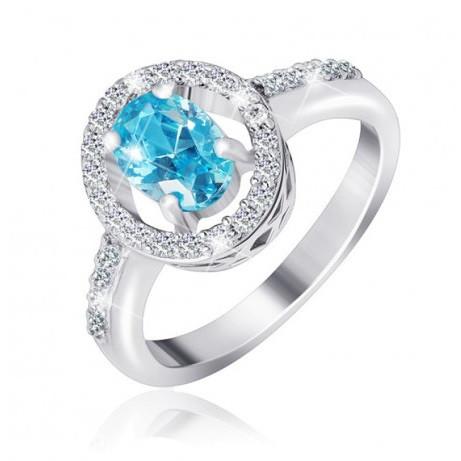 """Серебряное кольцо с имитацией топаза """"384"""""""