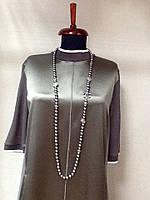 Бусы Chanel цвета графит жемчуг и белый метал
