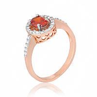"""Позолоченное кольцо с имитацией граната """"384"""""""