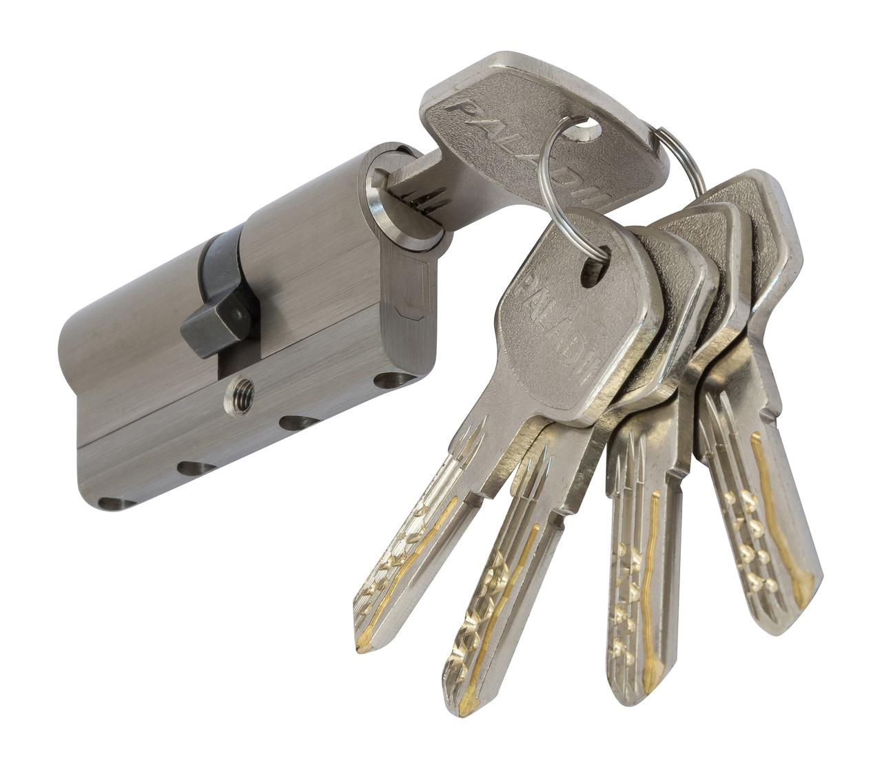 PALADII циліндровий механізм латунний з вставкою 80мм (35*45) 5 гібридних ключа сатен