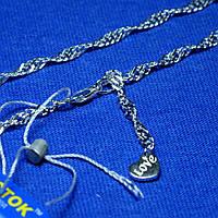 Браслет на ногу серебро с сердечком 26 см