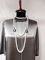 Бусы Chanel белый жемчуг с эмалью длинные