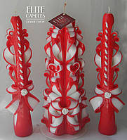 Красные свадебные свечи - резные ручной работы