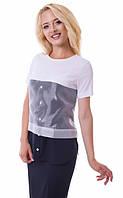 Оригинальная блуза с органзой 817 черно-белый