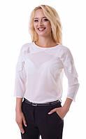 Женская блузка с волнами на плечах 2080 белый