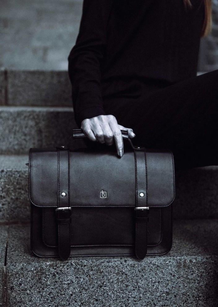 Портфель-сумка, сэтчел кожаная женская черная (ручная работа)