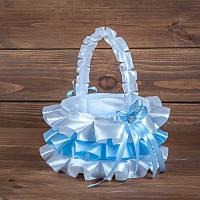 Корзинка для лепестков на свадьбу бело-голубая